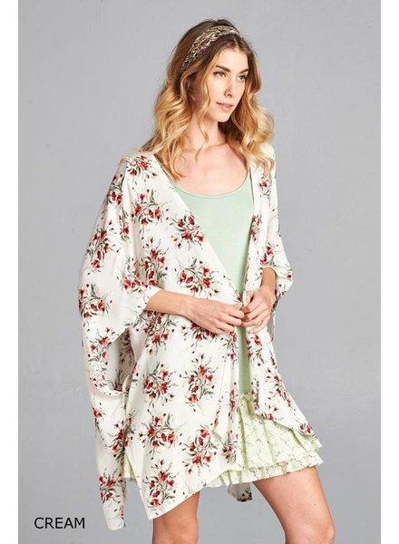 Oddi Floral Kimono with Crochet Back