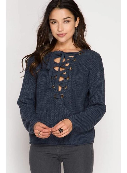 She & Sky Lace Sweater Teal