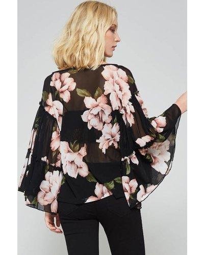 Promesa Floral Ruffle Blouse Black
