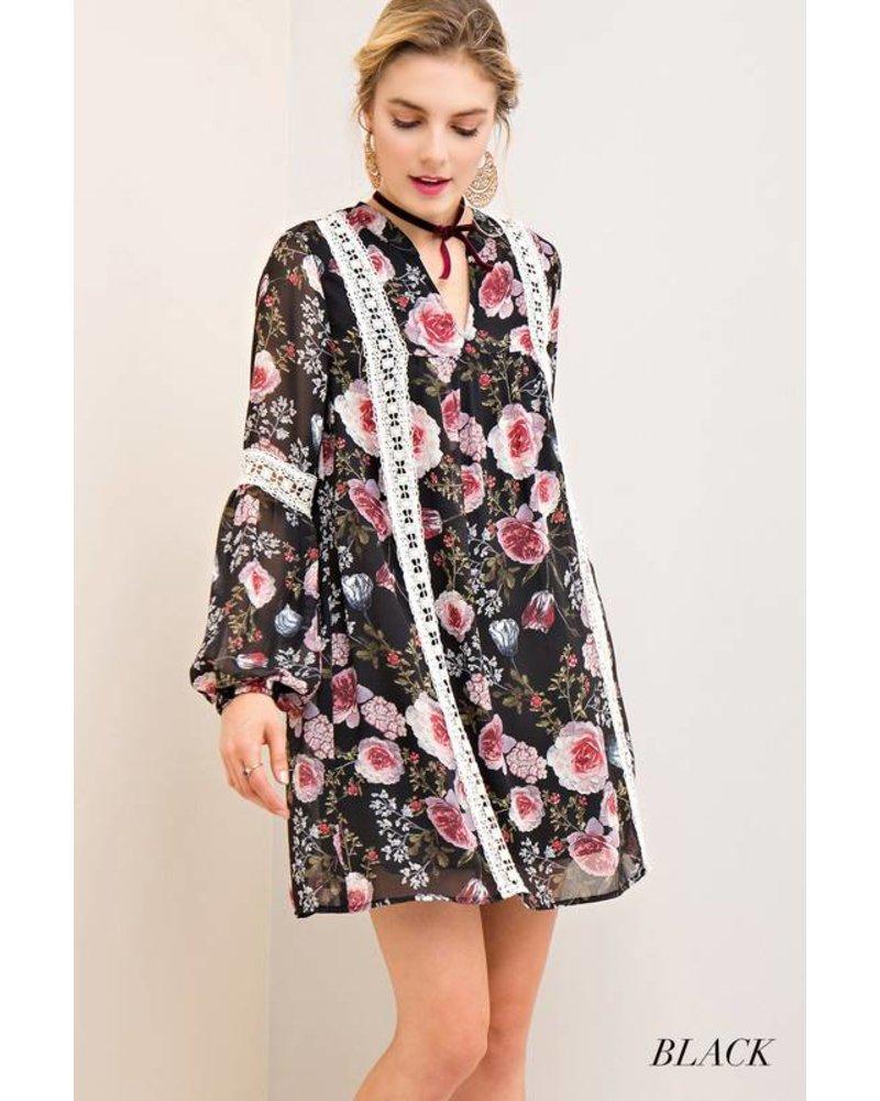 Entro Dress Black/Crochet Trim