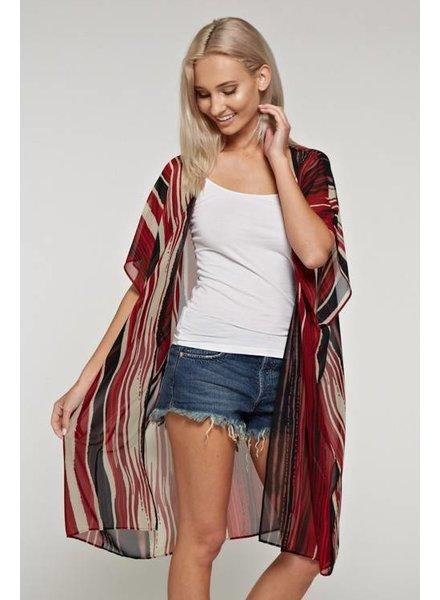 White Birch Red Striped Kimono