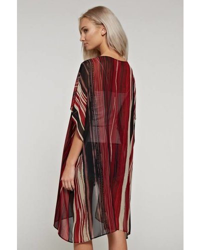 White Birch Red Striped Kimono