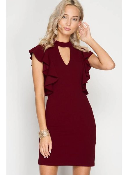 She & Sky Wine Ruffle Dress