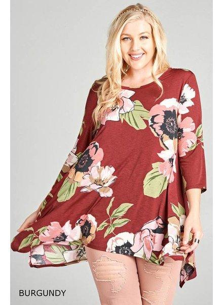 NAN Burgundy Floral Tunic