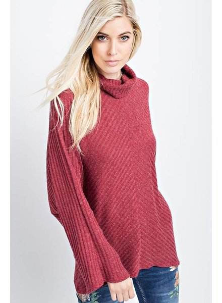 Ribbed Tunic with Dolman Sleeves Burgundy