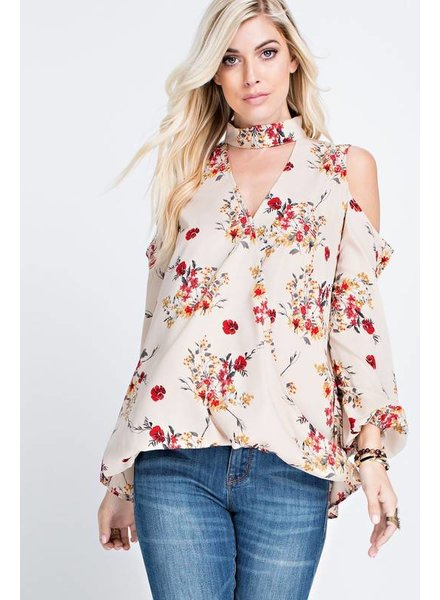 Cream Top with Floral Print & Cold Shoulder