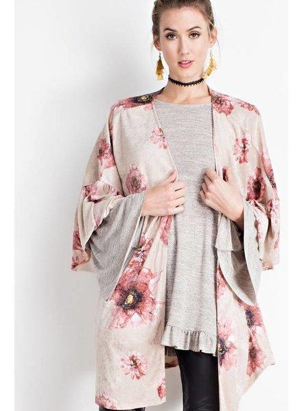 Easel Velvet Kimono Stone