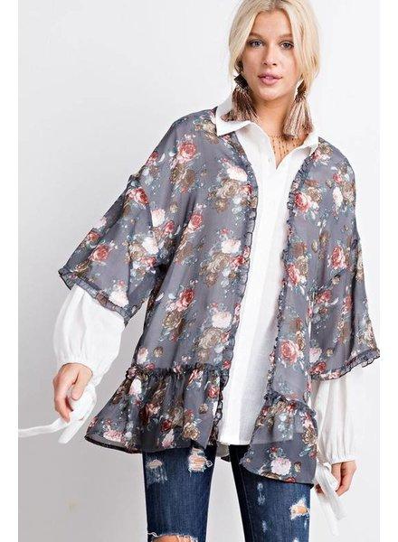 Easel Kimono Grey with Ruffle