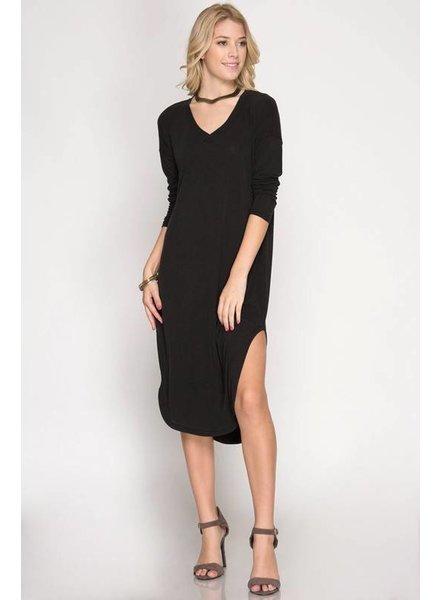 She & Sky Modal Dress Long Sleeves