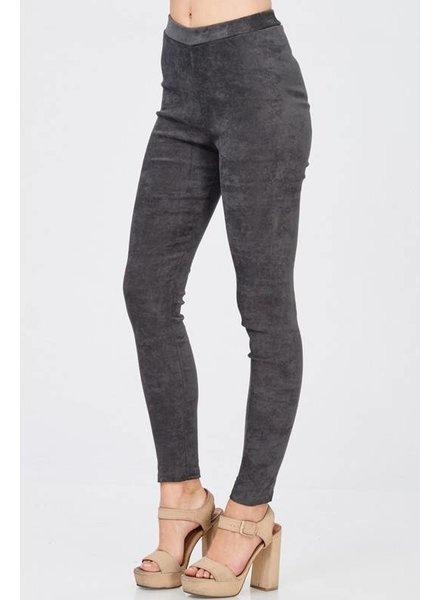 Grey Faux Suede Leggings