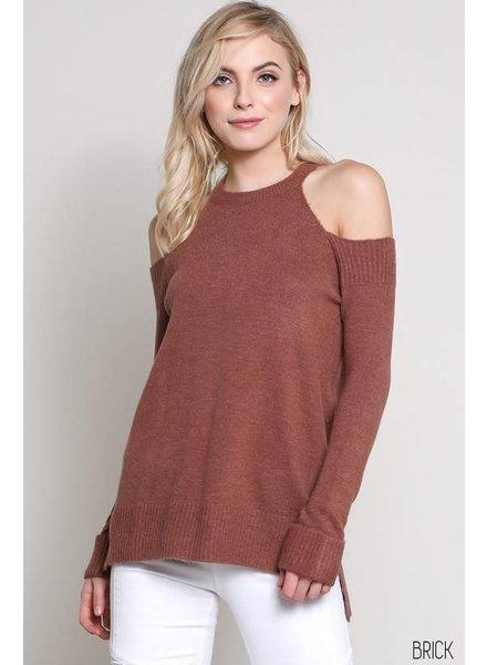 Wishlist Brick Cold Shoulder Sweater