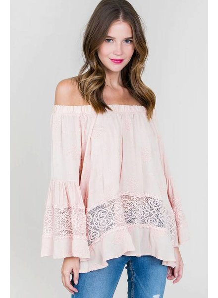 Lapis Off Shoulder Bell Sleeve Top Blush