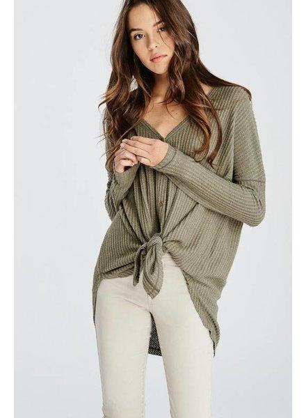 Wishlist Tie Up Button Shirt Olive