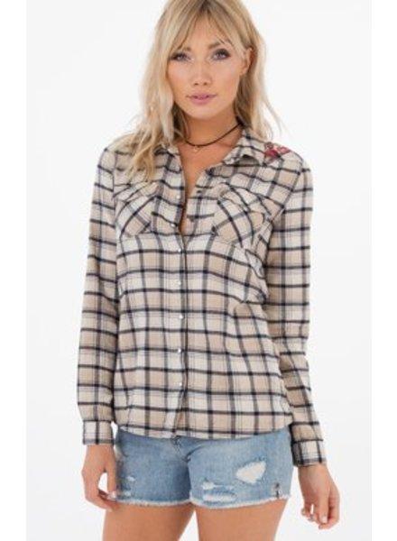 WC Plaid/Emb Shirt Oxford Tan