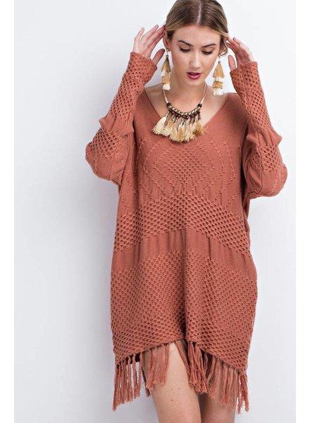 Easel Fringe Sweater Cinnamon