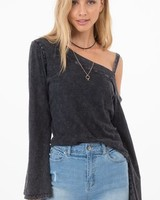 Others Follow Charcoal One Shoulder Top