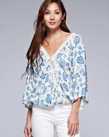 Love Stitch Crochet Lace Trim Floral Blouse Blue