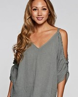 Love Stitch Gauze Cold Shoulder Olive Top