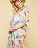Promesa Feather Kimono Mint Multi