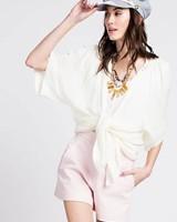 Easel Kimono Cream Lace Detail