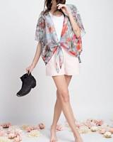 Easel Kimono Floral Crop Slate Grey