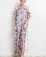 Easel Maxi Ruffle Floral Dress Slate Grey