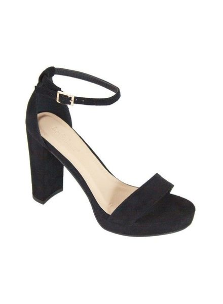 Suede Open Toe Black Shoe