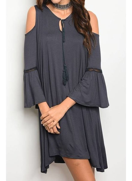 LULU Bell Sleeve C/S Dress Charcoal