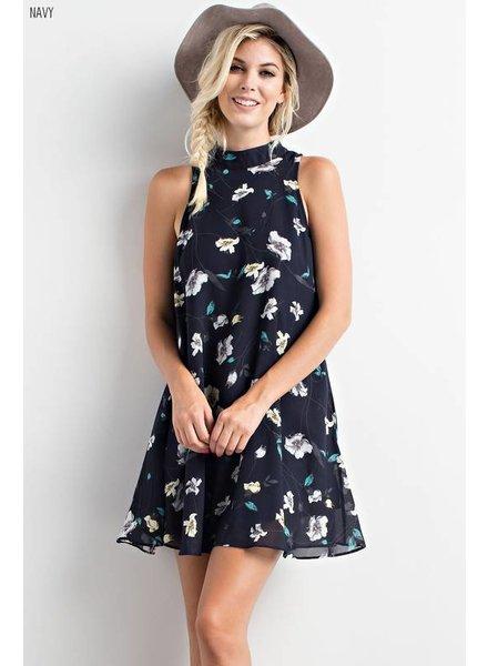 Wishlist High Neck Floral Dress Navy