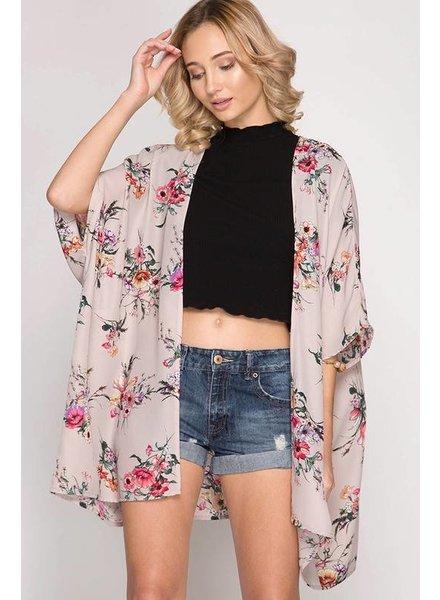 She & Sky Kimono Blush Floral O/S