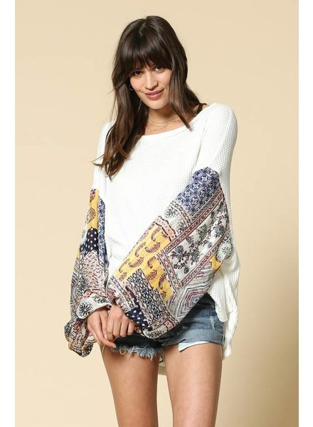 By Together Puffy Printed Sleeve Top