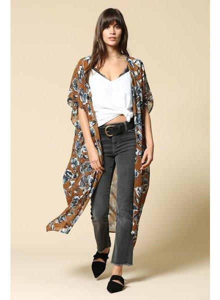 By Together Floral Print Long Kimono