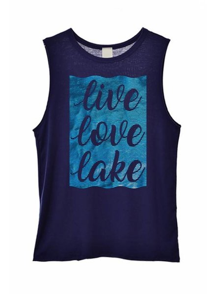 Graphic Tank Live Love Lake Navy