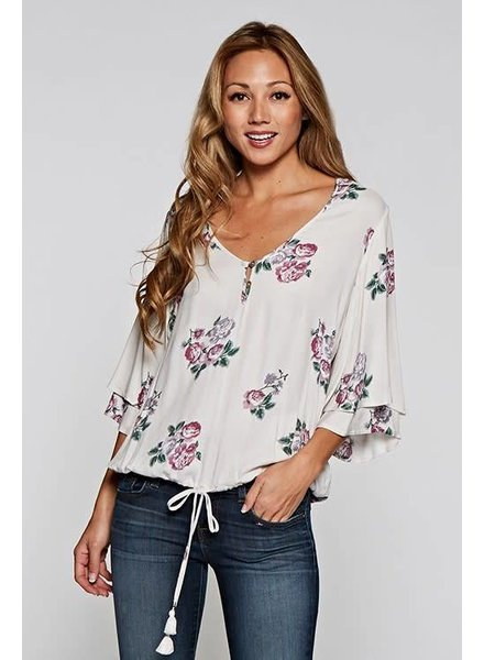 Love Stitch Button Blouse Floral Ivory/Rose