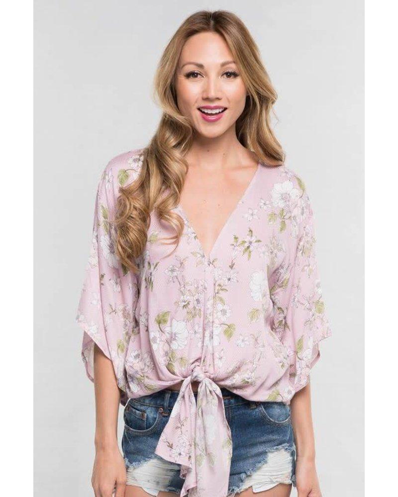 Love Stitch Tie Floral Kimono Lilac
