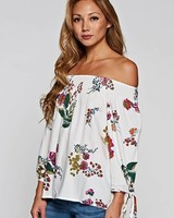 Love Stitch Smocked Off Shoulder Floral Cream