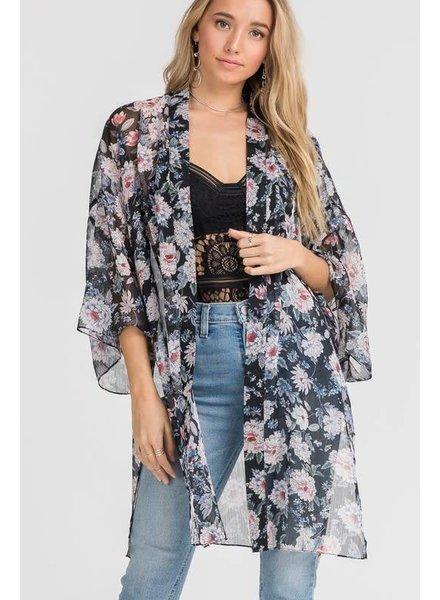 Lush Floral Kimono Black