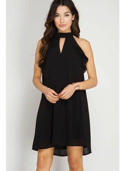 She & Sky High Neck Halter Ruffle Dress Black