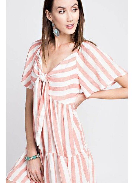 Easel Striped Tie Front Dress Coral