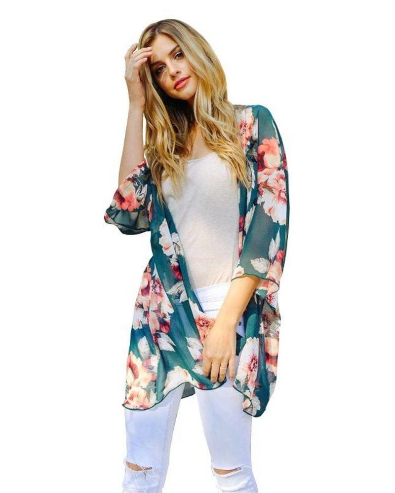 Lovely J Floral Kimono Green