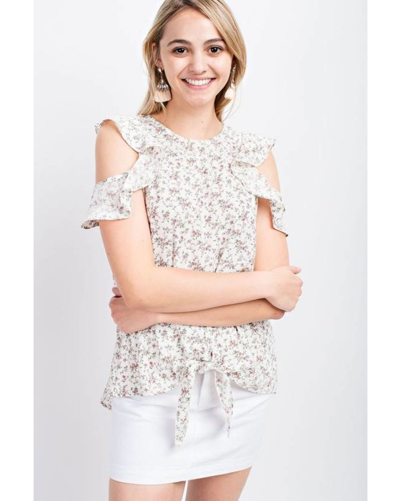 143 Ruffle Sleeve Top White
