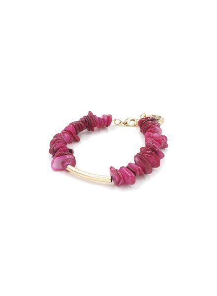 Kinsely Armelle Pink Chip/Gold Bracelet