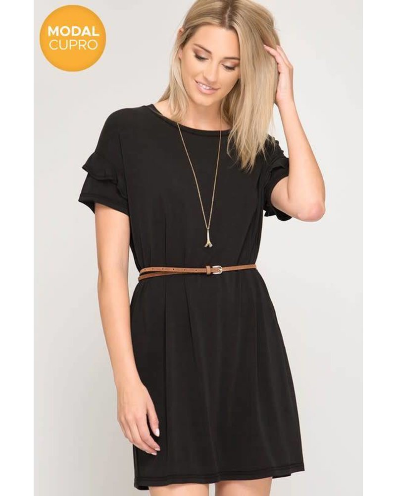 She & Sky Ruffle Sleeve Dress Black