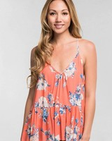 Love Stitch Floral Tie Back Cami Coral