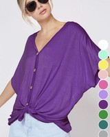 Fantastic Fawn Tie Button Top Purple