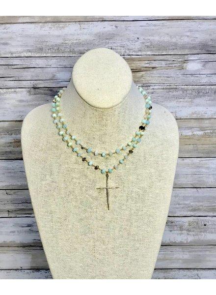 Nikko Blu Gem Mint Necklace Cross