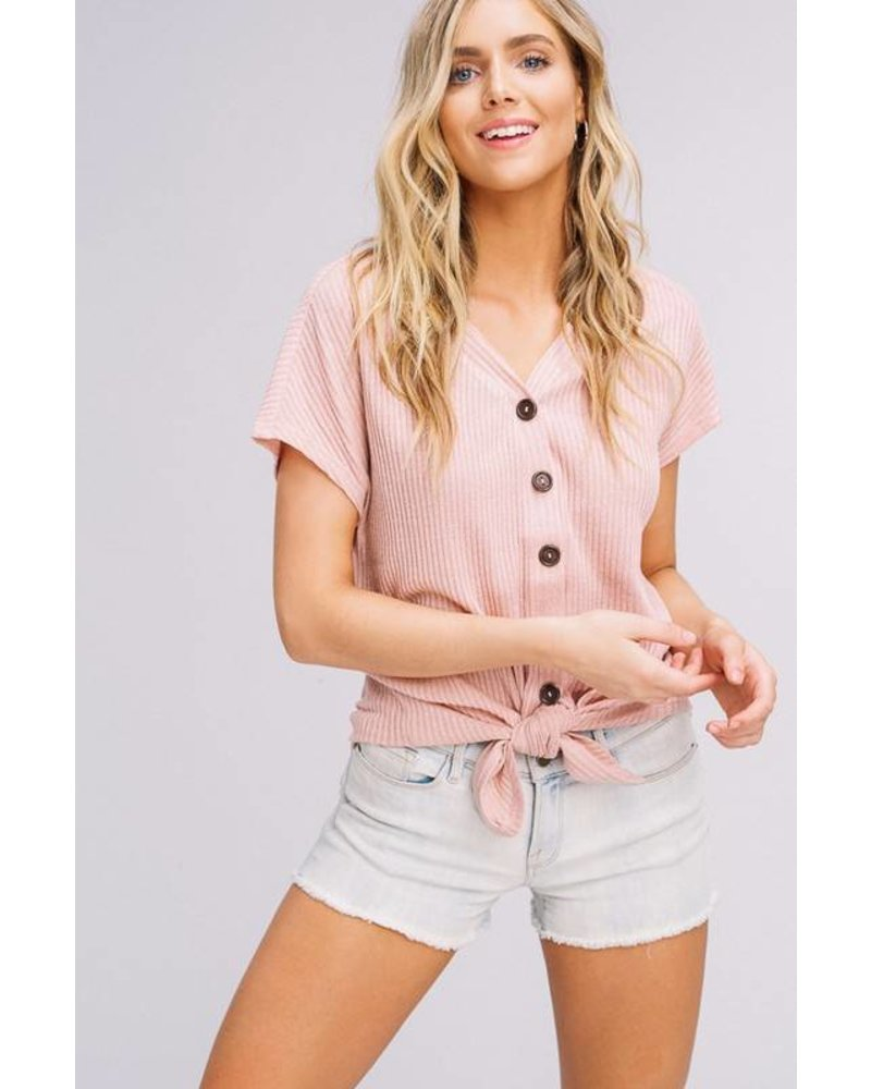 Listicle Tie Top Buttons Blush
