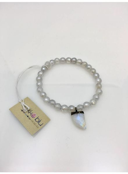 Nikko Blu Petite Horn Bracelet White