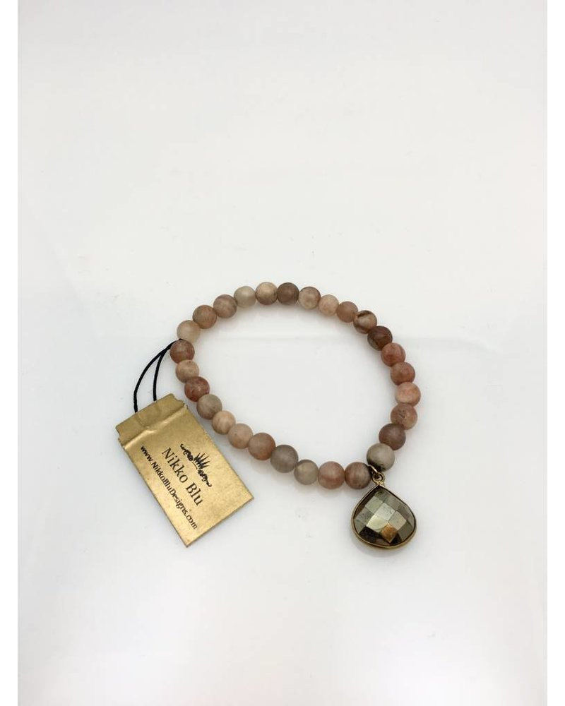 Nikko Blu Natural Stone Teardrop Pendant Bracelet