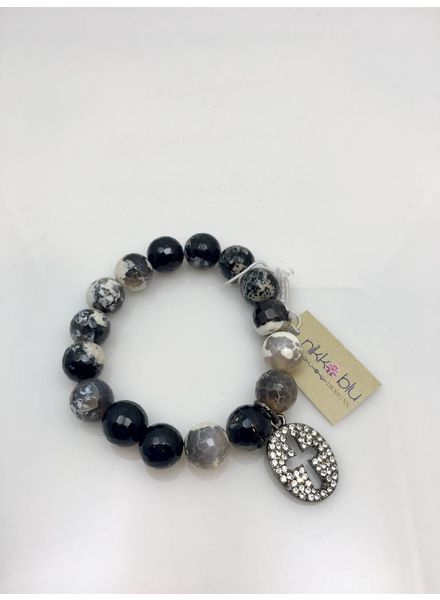 Nikko Blu Crystal Cross Bracelet Black/White